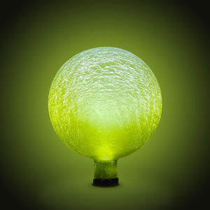 Solar Gazing Globe 10 Inch Yellowish Green Frosted