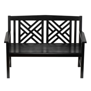 Fretwork Black Bench