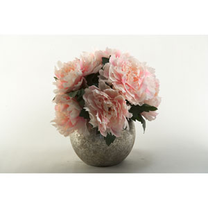 Pink Peony Bouquet in Silver Ball Planter