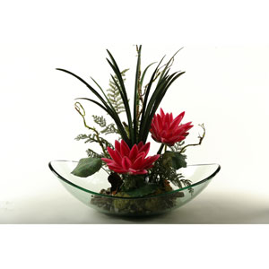Beauty Water Lilies with Mixed Greenery in Glass Dish