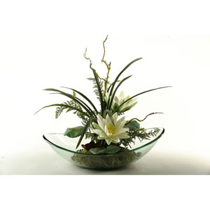 Cream Water Lilies with Mixed Greenery in Glass Dish