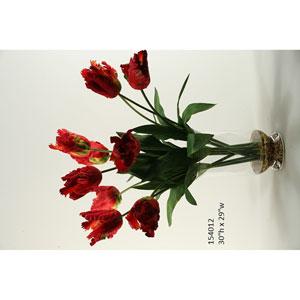 Red Parrot Tulips in Glass Hurricane Vase