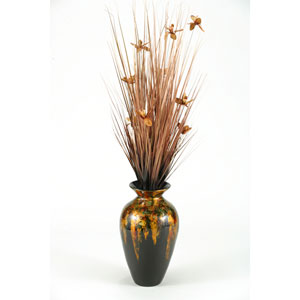 Copper Ting with Copper Blossoms in Mardi Gra Spun Bamboo Vase