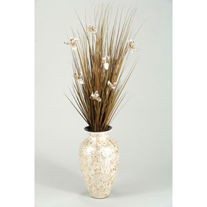 Brown Ting with Cream Blossoms in Mother of Pearl Spun Bamboo Vase