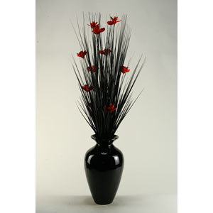 Black Ting with Red Blossoms in Black Spun Bamboo Vase