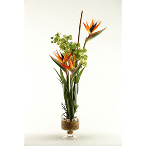 Natural Touch Bird of Paradise with Green Vanda Orchids in Glass Vase