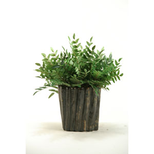 Green Locust Spray in Oval Ceramic Planter