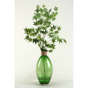 Japanese Maple Branches in Green Glass Vase