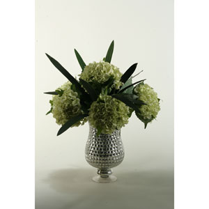 Green Hydrangeas with Foliage in Silver Mosaic Hurricane Vase
