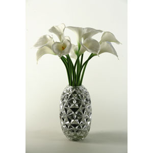 Large White Natural Touch Callalilies in Silver Glass Vase