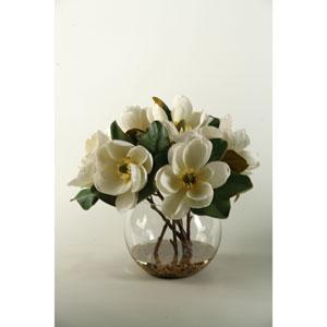 Cream Magnolias in Clear Glass Bubble Bowl