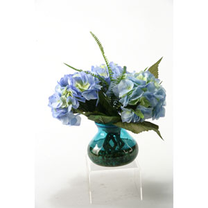 Large Blue Hydrangeas with Deer Fern and Queen Annes Lace in a Vintage Blue Glass Vase