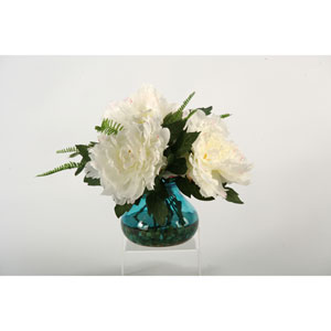 Cream and Pink Peonies in Vintage Blue Garden Vase