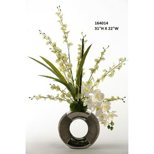 Pale Green Dancing Orchid with White Vanda Orchids in Silver and Gun Metal Circle Planter
