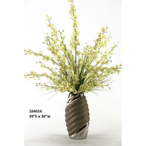Green Oncidium Orchids in Tall Oval Silver and Black Ceramic Vase