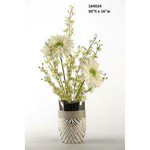 30 In. Large Cream Gerber Daisies with Green Dancing Orchids in Silver Zebra Print Ceramic Vase