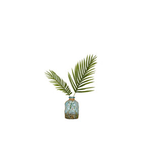 Cycas Palm Fronds in Blue Bottle Vase