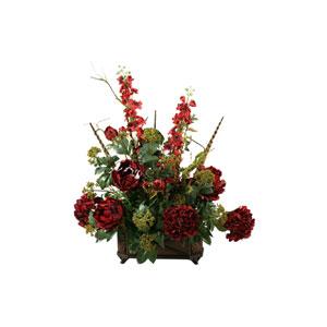 Burgundy Hydrangeas, Peonies and Delphinium in Resin Rectangle Planter
