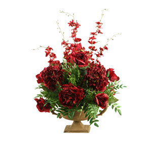 Burgundy Roses, Hydrangeas and Orchids in Metal Pedestal Bowl