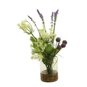 Queen Annes Lace, Lavender and Lavender Globe Flower in Glass Candle Jar