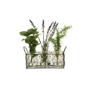 Lavender, Mint and Sprinderi in Glass Bottles in Metal Holder