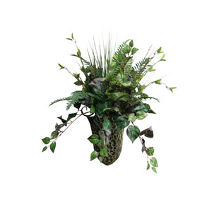 Fern and Ivy in Metal Wall Sconce