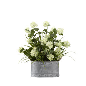 Snowball Branches with Grass in Oval Metal Planter