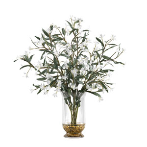 White Wild Flowers in Glass Hurricane Vase