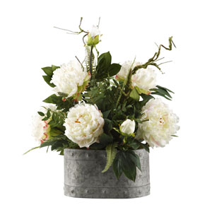 Large White Peonies in Oval Metal Planter