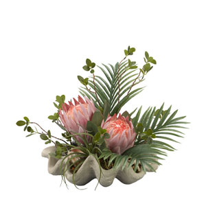 Pink King protea with Palm and Greenery in Resin Clam Shell