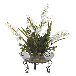 Cream Baby Dendrobium Orchids in Glass Bowl with Stand