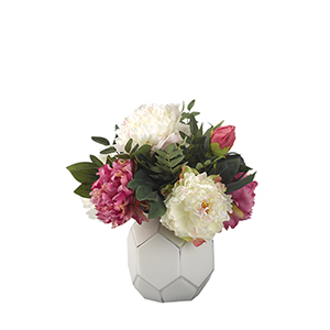 Pink and Cream Peonies in White Glass Bowl