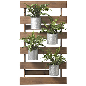 Wooden Slat Wall with Leather Fern in Tin Cans