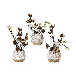 Cotton Branches in Ceramic Planters, Set of Three
