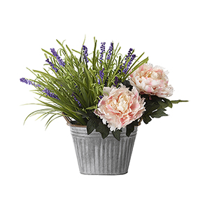 Pink Peonies and Wild Lavender in Oval Metal Planter