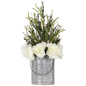 Cream Peonies and Pink Wild Flowers in Oval Metal Bucket with Wire Handle