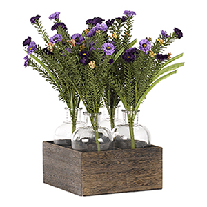 Purple and Lavender Wild Flowers in Glass Jar In Wooden Crate