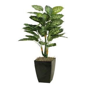 42 In. Dieffenbachia Planter in Square Metal Planter
