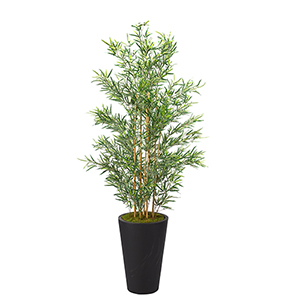 7 Ft. Bamboo Tree in Tall Round Black Planter