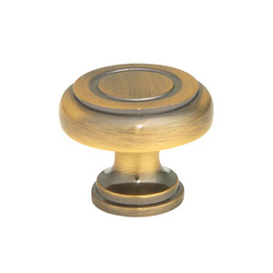 Antique Brass 1.25-Inch Ringed Knob
