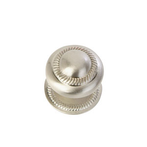 Satin Nickel-Inch Roped Knob with Back Plate