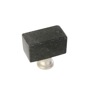 Black 1.25-Inch Square Knob Galaxy Granite