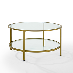 Aimee Gold Metal and Glass Coffee Table