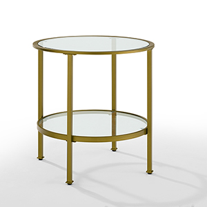 Aimee Gold Metal and Glass Side Table