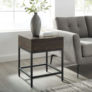 Jacobsen Brown Ash and Matte Black End Table