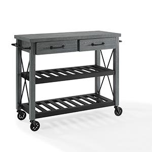Roots Grey Fiber Board and Pine Veneer Kitchen Cart