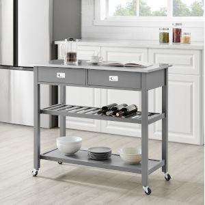 Chloe Gray 42-Inch Kitchen Cart