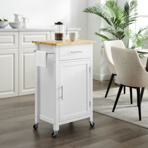 Savannah White 22-Inch Wood Top Kitchen Cart