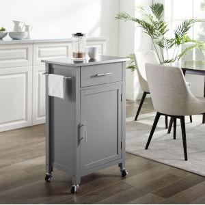 Savannah Gray 22-Inch Stainless Steel Top Kitchen Cart