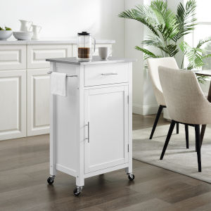 Savannah White Stainless Steel Top Kitchen Cart